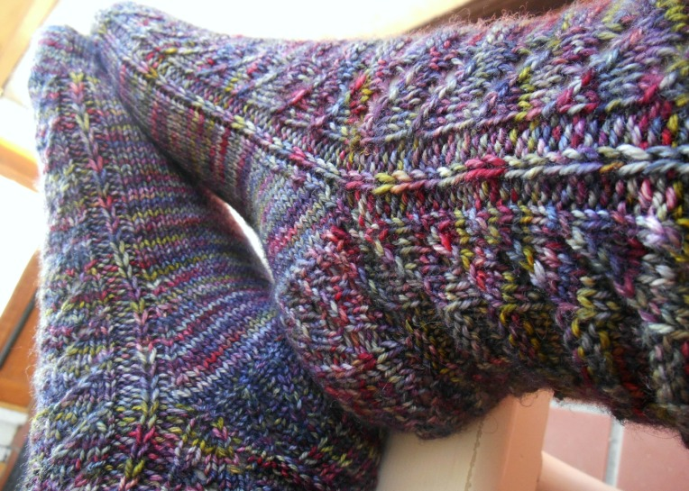 Pattern: Patina Socks by Tanis Lavallee  Yarn: Zen Yarn Garden Serenity 20, Composition Storm